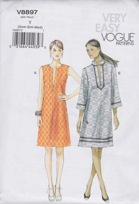 Very Easy Vogue Pullover Tunic Dress Pattern V8897 Missesu0026#39;