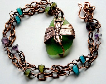 Dragonfly on Emerald Green Beach Glass Wire Wrapped Antiqued copper, Purple Fluorite and Green Glass Beads