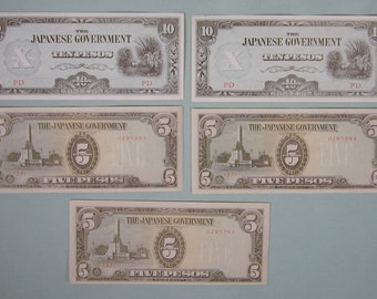 WWII Japanese Government 2 Tens 3 Five Pesos  Philippines