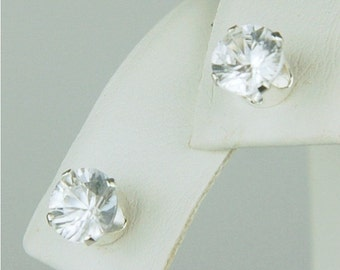 White Zircon Stud Earrings 6mm Round 2.70ctw Sterling Silver