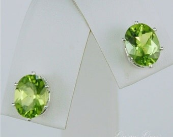 Peridot Stud Earrings Sterling Silver 8x6mm Oval 2.70ctw Natural Untreated
