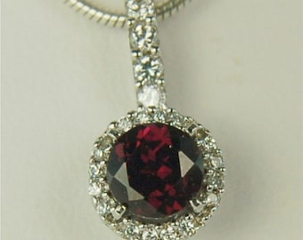 Rhodolite Garnet Necklace Sterling Silver  6mm Round 1ct Surrounded by Cz's Natural Untreated Garnet