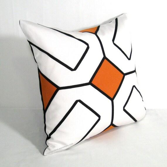 INVENTORY SALE, Orange Outdoor Pillow Cover, Decorative Black White Geometric, Mid Century Modern Throw Pillow Case, Sunbrella Cushion Cover