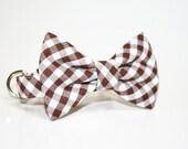 Brown Gingham Bow Tie Dog Collar- Wedding Dog Collar