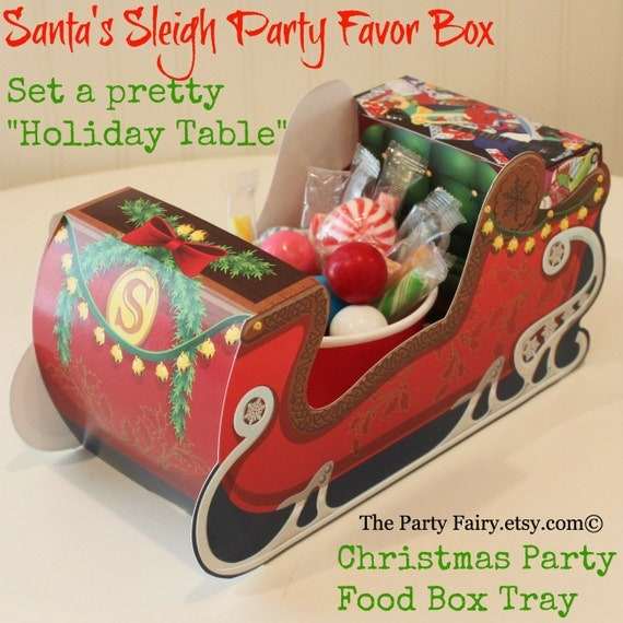 Food Trays 6 Santas Sleigh Boxes Christmas Food Tray Party