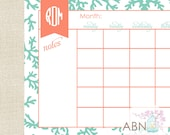 2016 Monthly Calendar - Desk Calendar Pad with 53 Sheets - Teal CORAL Collection - fill in your own dates
