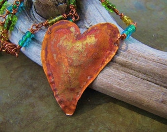 A Handcrafted Chain Vintage Glass Beads Copper Heart Pendant