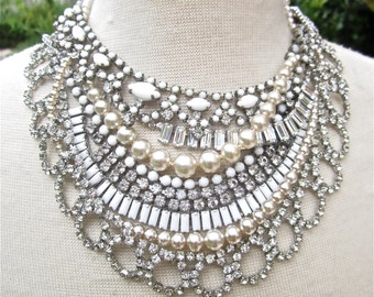 White Bridal Statement Necklace, Wedding Jewelry Made To Order Vintage Wedding Necklace, Layered Rhinestone Pearl Layered Necklace