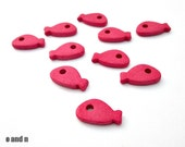 Fish greek ceramic beads / charms, hot pink beads - 10 pieces