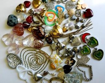 MIX VINTAGE HEARTS-Adorable vintage hearts for your most romantic creations - 75 pieces - vintage 1960/1970-art.82-