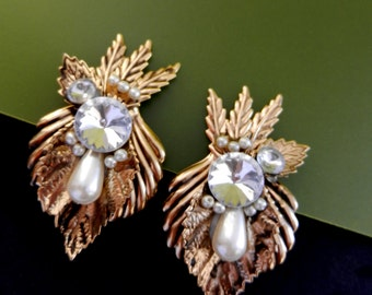 Gorgeous Earrings 1970 - oversize gold, crystals and pearls - original Italian jewel-gold and crystal -very glam--art.306/3-