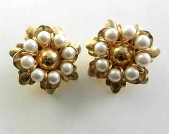 Large pearls flower  earrings vintage 1960 Italian -pearls and gold elegant   3D  flowers--Art.336/3--