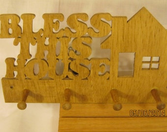 BLESS THIS HOUSE Key Rack Scroll Saw Plaque