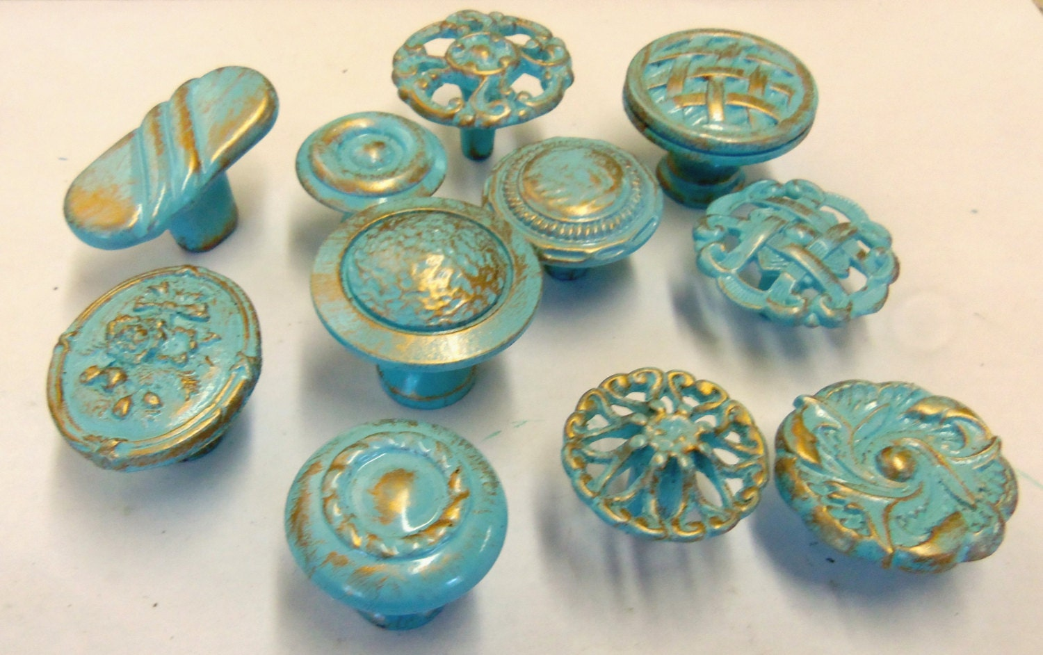 Drawer pulls knobs collection 11 aqua turquoise robins egg for Turquoise door knobs