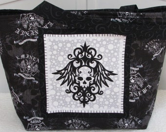 Black Damask Skulls large Tote Bag Biker Tattoo Skulls Purse Ready to Ship