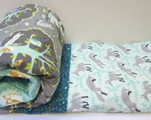Baby Boy Quilt-Grey-Gray-Teal-Charcoal-Les Amis-Owl-Deer-Fox Baby Blanket-Modern Patchwork-Woodland Crib Bedding