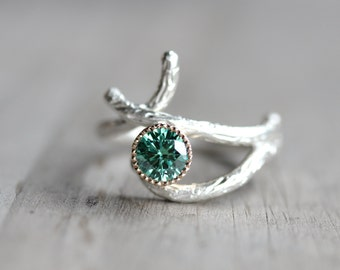 Silver Yellow Gold Branch Engagement Ring Green Moissanite Woodland Twig - Mossy Bark