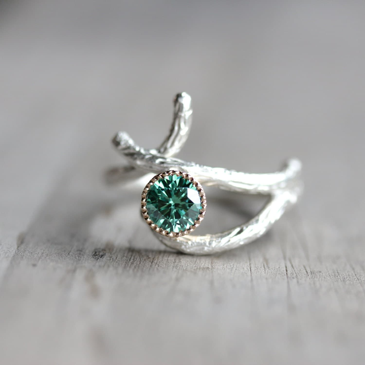 Silver 14K Yellow Gold Branch Engagement Ring Green Moissanite