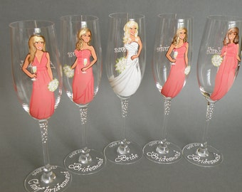 SALE Bridesmaids and Bride Gift Bridal Party Wine or champagne Glasses Personalized Caricatures Hand painted to their Likeness Coral Dresses