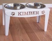 Custom Personalized Elevated Dog Feeder Stand Large Raised Bowls