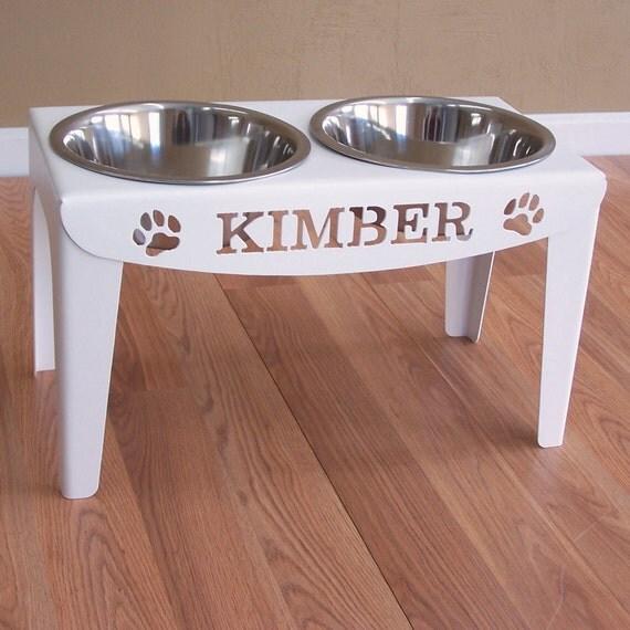 Elevated Custom Dog Name Food Bowls