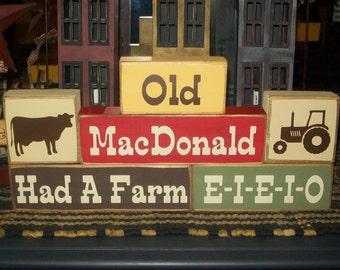 New Primitive Distressed Old MacDonald Had A Farm Wood Sign Blocks Cow Chicken Pig Tractor Farm Animals Nursery Decor Nursery Rhyme Cute