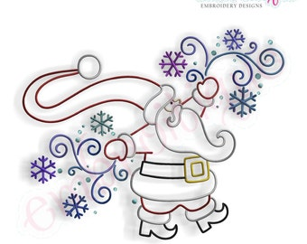 Santa with Swirls and Snowflakes - Instant Email Delivery Download Machine embroidery design