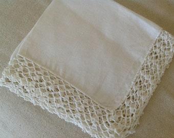 White Handkerchief Crocheted Trim ~ Wedding Keepsake ~ Hankie For Bride ~ Vintage Linens ~ White Vintage Hankie ~ Crocheted Trim