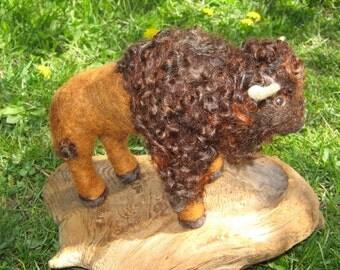 OOAK Large Bison Bull Needle Felted Soft Sculpture