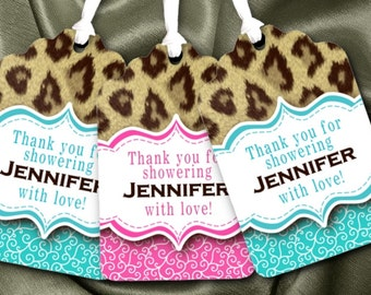12 Favor Tags, Gift Tag, Baby Shower, Bridal Shower, Bachelorette Party, Birthday Party, Hot Pink, Turquoise Blue, Cheetah Animal Print