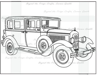 Vintage Car Digital Stamp