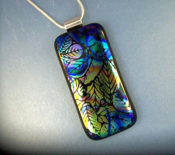 Dichroic Glass Pendant - Velvety Leaves - Fused Glass - Dichroic Jewelry - Fused Jewelry
