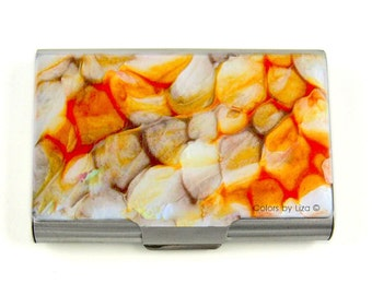 Large Metal Card Case Hand Painted Orange Taupe and White Enamel Metal Wallet Quartz Inspired with Personalized Options