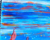 PAINTING Red Setting Sun over the water - Sea Scape - Acrylic Box Canvas Painting - suitable for Child's Decor
