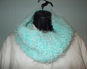 Aqua or Turquoise Hand Knit Cowl in soft bulky yarn FREE US SHIPPING