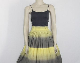 1950's Cotton Skirt - Vintage Yellow and Grey Ombre Skirt