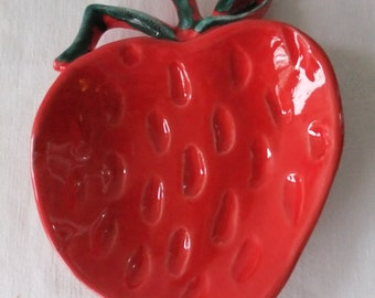 Vintage Ceramic Red Strawberry Dish USA LS 85 Relish Dip Candy Retro