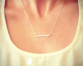 NEW Sterling Silver Tiny Hammered Bar Necklace - Dainty Small Bar Pendant Sterling Silver - Gift For - Wedding Jewelry - Simple Everyday