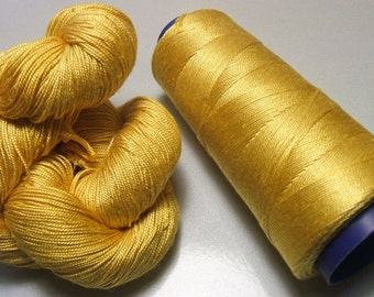 100% Pure Mulberry Queen Silk Yarn 50 gram 3 Ply Lace Weight Sunshine QS007 Lot G - Cone or Hank