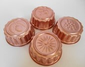 Vintage Copper Jello Tart Cake Molds -- Anodized Aluminum Molds -- Set of 4 mini round molds -- Star-burst, acorn, grapes, four leaf clover