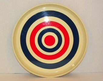 Vintage Round Serving Tray -- Bulls-eye Target Red and Blue Retro Style -- Man Cave