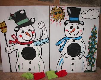 2   games   Snow  men 1 ring toss and 1  bean toss