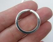 BULK 20 Key rings 25 x 2mm silver plated