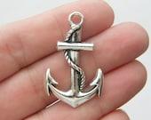 BULK 30 Anchor charms antique silver tone AN19