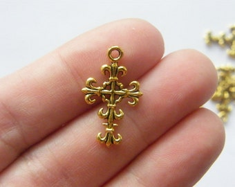 12 Cross charms antique gold tone GC359