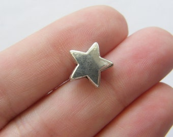 10 Star spacer beads antique silver tone S34