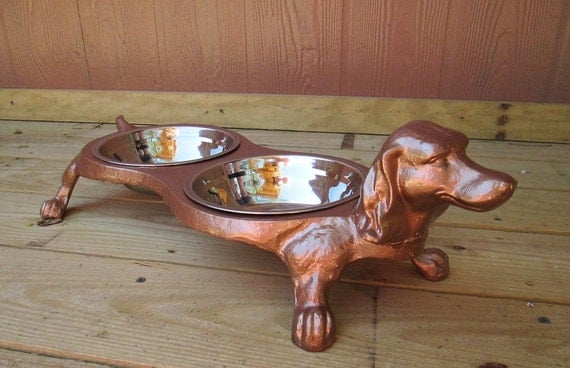 Extra Large Cast Iron Dachshund Dog Shaped Pet Bowl Painted In