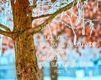 Winter Hope - nature photography landscape winter inspirational print - icy trees snowy winter morning - psalm 74-17 - scripture art