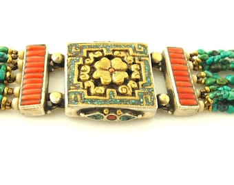 Inlaid Turquoise and Coral Bracelet - Floral - Sterling & Brass - Tibetan - Vintage