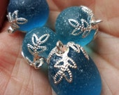 20pcs - bright silver plated - filigree leaves - Glue on bead caps - glue on bails -
